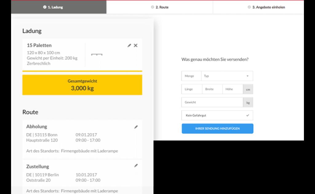 Ein Screenshot der Saloodo Platform.
