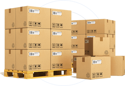 Boxes stacked on top of each other on pallets.