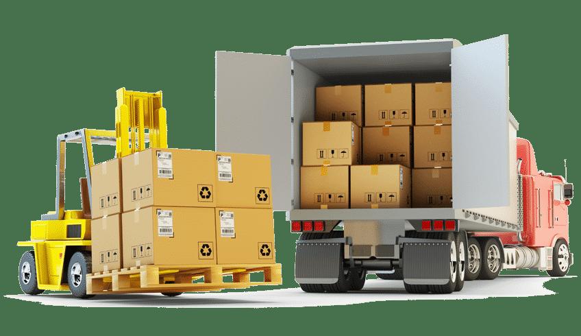 Ein Gabelstapler belädt den Truck eines Logistikdienstleisters.