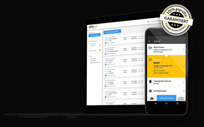 Ein Screenshot von Saloodo!, der Plattform die sich ideal dafür eignet zuverlässige und günstige Transportunternehmen zu finden.
