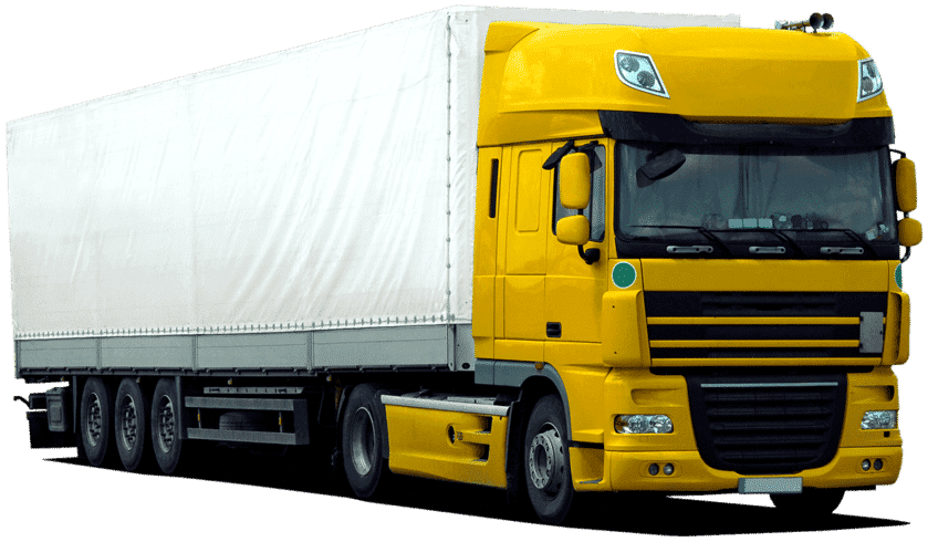 A truck or lorry as it is used to transport freight.