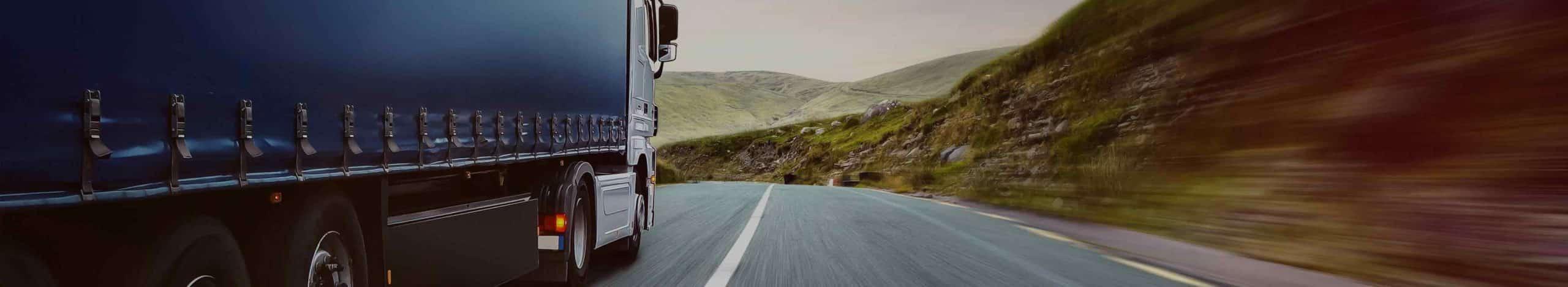 Ein Truck, der auf einer Straße Fracht, in Form von Paletten und Gitterboxen, transportiert.