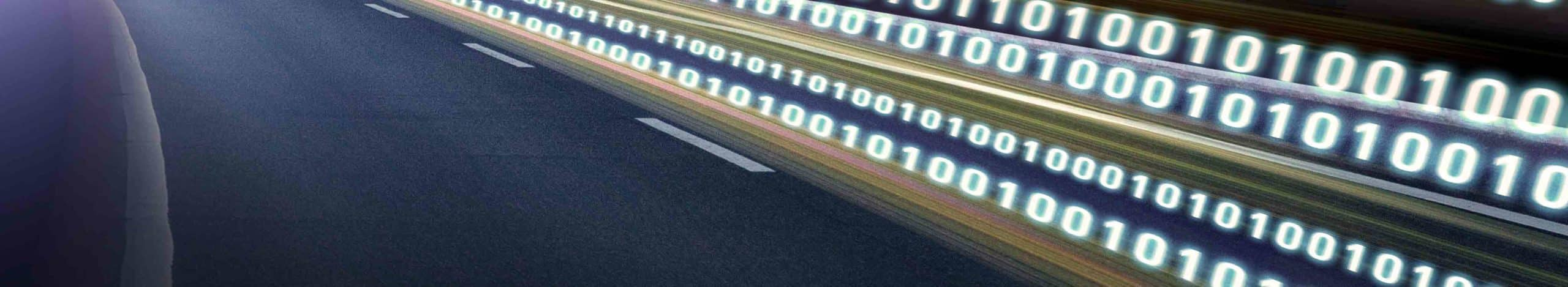 A binary code 'traveling' across at the speed of light. This highlights how data is becoming increasingly important in logistics.