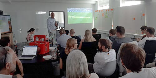 Saloodo! employees watching a match of the 2018 World Cup together.