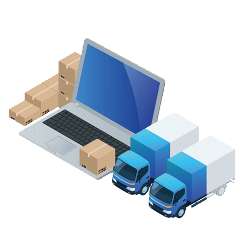 Two blue trucks standing next to a laptop, which as a tiny box on top of it.