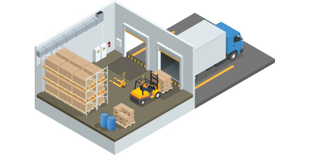 A warehouse station where cargo is loaded directly into the truck.