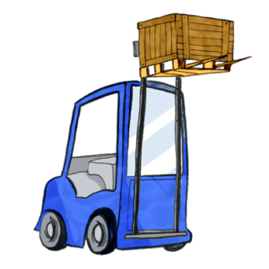 Ein Gabelstapler befördert eine Palette mit einem Paket geladen.