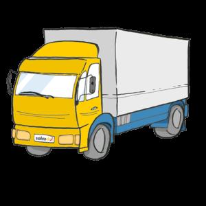 Ein LKW eines Transportdienstleisters, der Waren für Saloodo! transportiert.