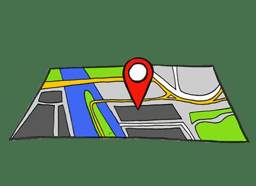 Eine Karte die Anzeigt, an welchem Ort sich die Abladestelle befindet.