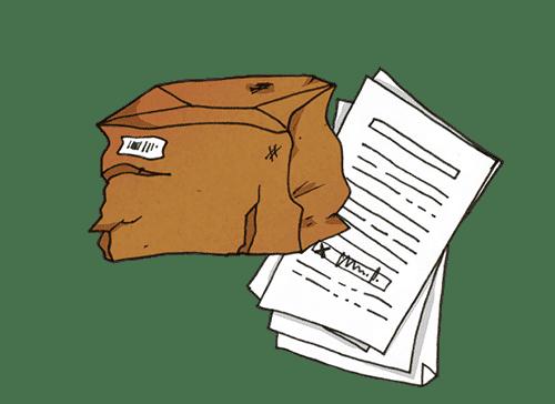 Ein beschädigtes Paket mit dem Abliefernachweis bzw. der Empfangsbestätigung.