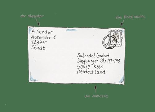 Ein Brief, der an die Saloodo! GmbH adressiert ist.