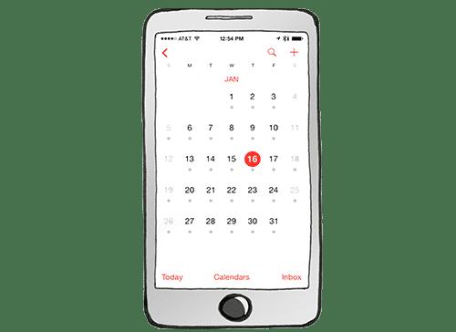 Ein Handy mit einer Kalenderansicht.