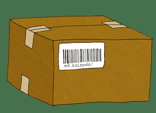 Ein Paket mir einem Barcode von Saloodo!.