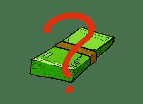 Ein Fragezeichen vor einem Bündel Geld symbolisierend für Bonität.