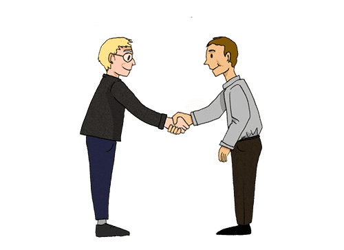 Zwei Personen geben sich die Hand und beschließen damit einen Verhaltenskodex.