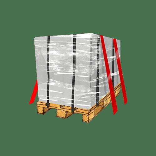 Eine gesicherte Palette, auf der eine Maschine transportiert wird.
