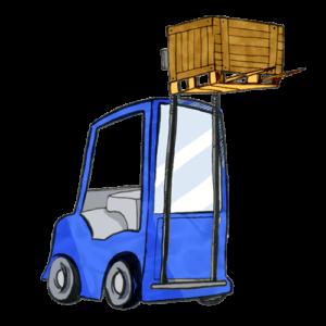 Ein Gabelstapler transportiert eine Maschine in einem Paket auf einer Europalette.