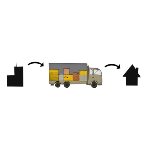 A truck transporting dangerous goods from Saloodo! to a residential area
