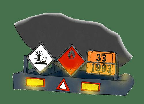 Heckansicht eines LKW mit verschiedenen ADR Warntafeln