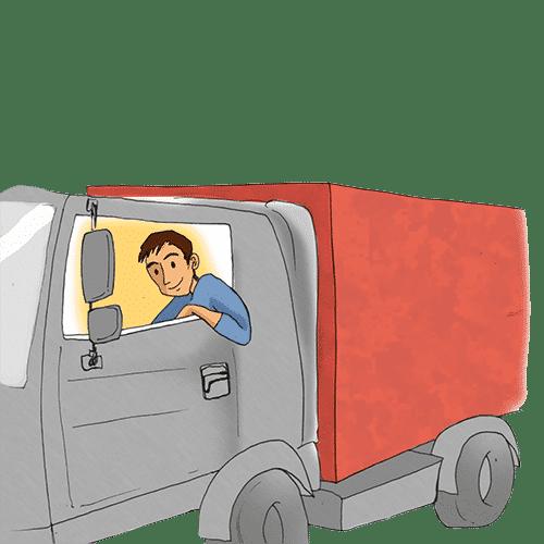 Ein LKW-Fahrer lehnt lässig mit einem Arm auf dem Fenster seines LKW-Führerhaus.