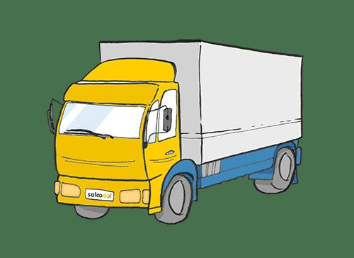 Illustration von einem LKW mit gelbem Führerhaus