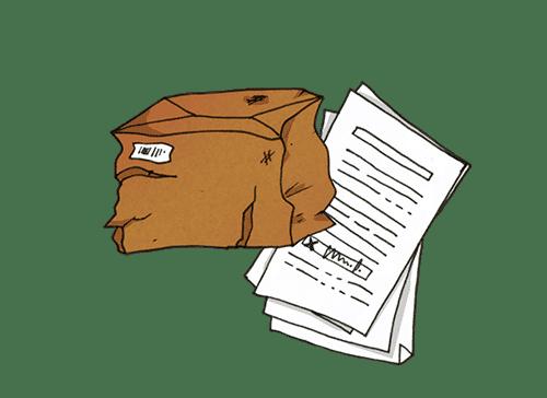 Beschädigtes Frachtgut for einem Stapel Papiere als Symbol für den Proof of delivery (POD) bzw. den Abliefernachweis