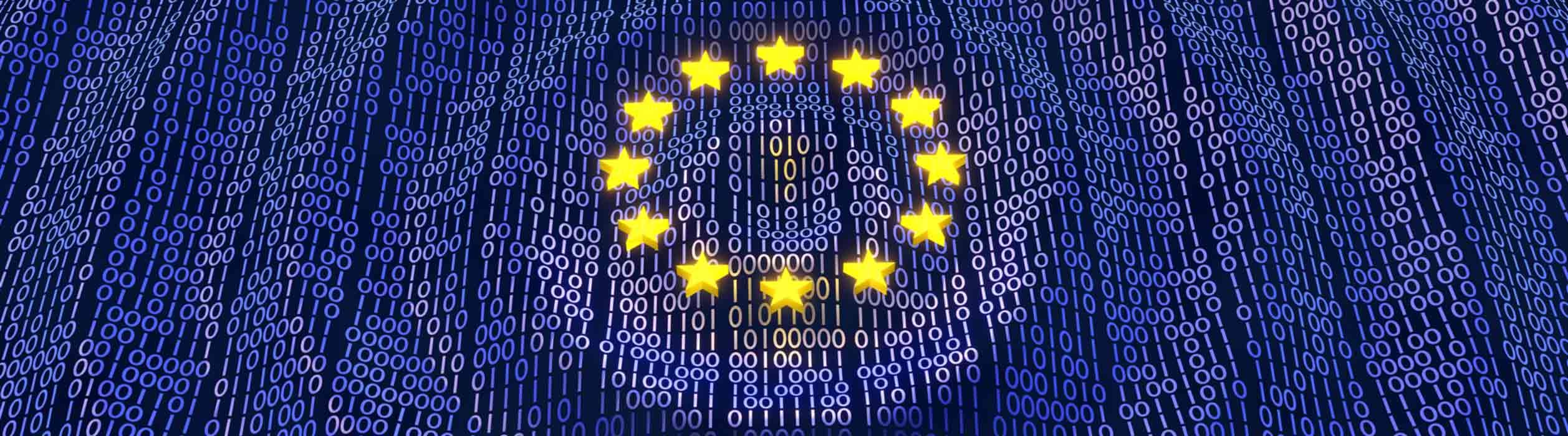 Europafahne mit binärischem Code für den Saloodo Blog Artikel zum Safer Internet Day mit Internet Sicherheits-Tipps für Transportunternehmen, Spediteure und Frachtführer.