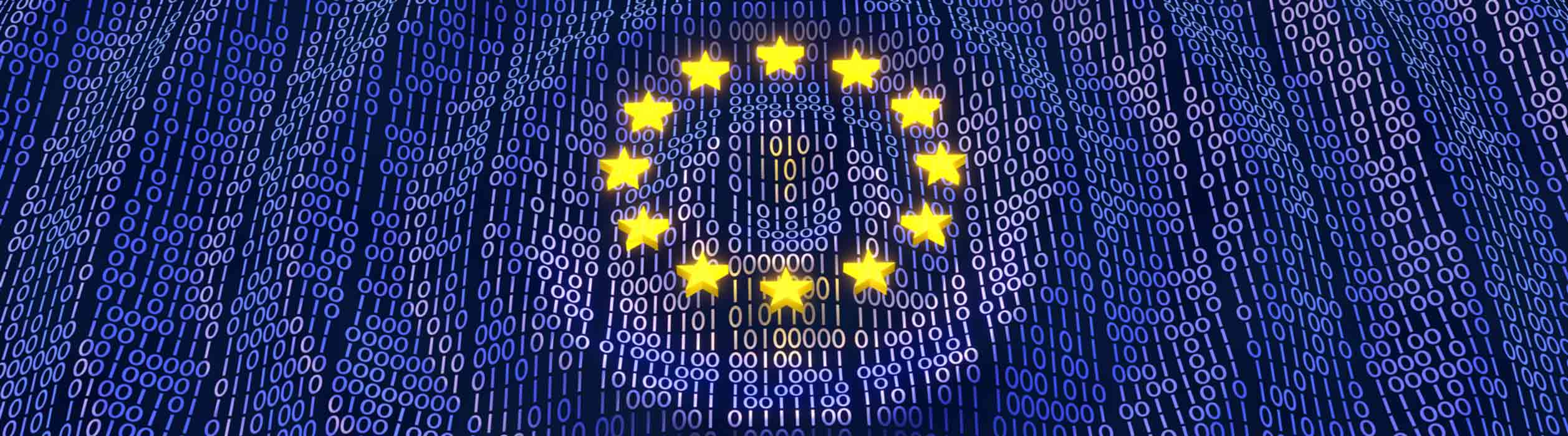 The European flag formed of binary code. This is to highlight the importance of the Safer Internet Day and to provide internet security tips for transport companies, forwarders and carriers.