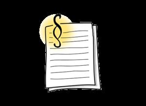 Paragraphenzeichen vor einem Stapel Papier als Symbol für die ADSp