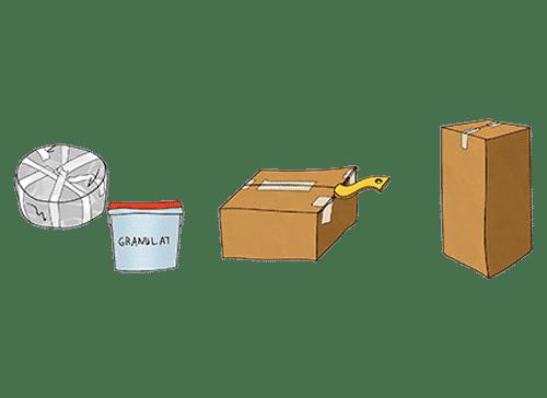 Zusammenstellung verschiedener Frachtgüter, die als Sperrgut gelten