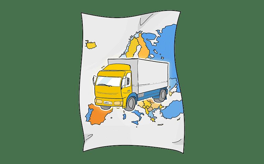 Eine Karte von Europa mit einem Truck der Beiladung transportiert.