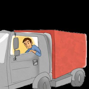 Ein Fahrer im LKW seines Logistikunternehmens.