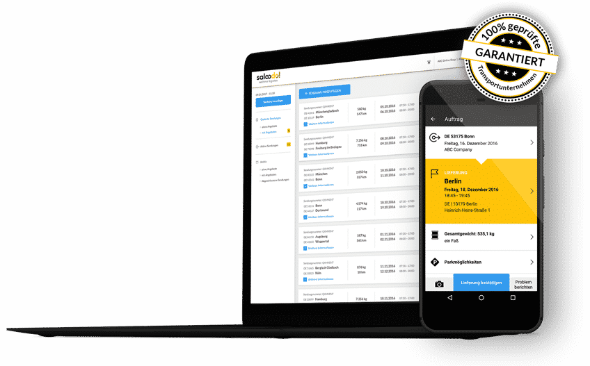 Ein Screenshot von Saloodo! der Transportplattform auf der zahlreiche Unternehmen passende Speditonen für Ihre Transporte finden.