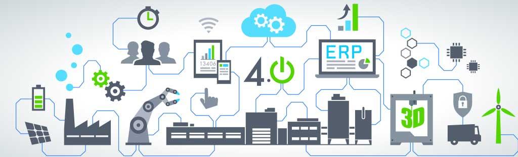 Symbolbild zum Thema Connected Supply Chain mit einem Abbild aller Komponenten einer vernetzten Lieferkette