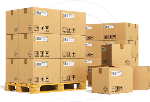 Goods loaded on two pallets