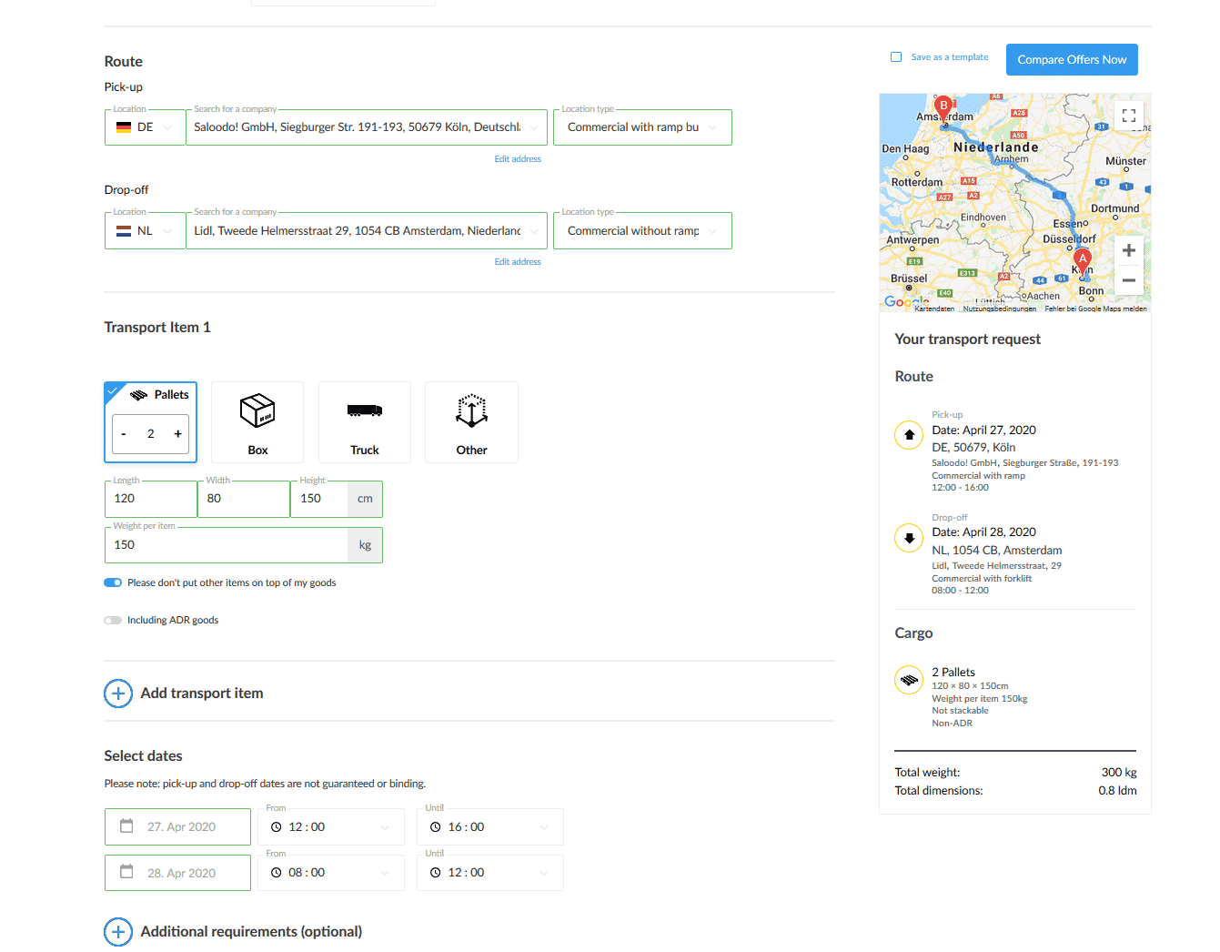 Picture of the new design for shipper on the freight exchange platform Saloodo!