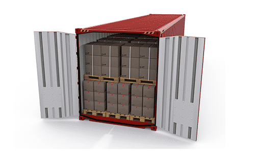 A red container loaded with goods on pallets