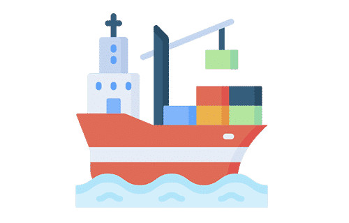A ship sailing on the sea