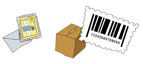 A barcode, package and letter