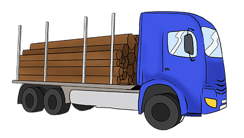A truck loaded with timber