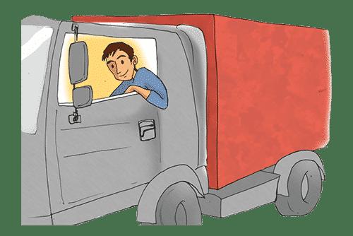a driver driving a truck