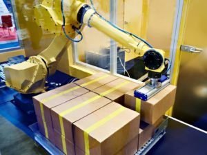 A robot doing the labelling