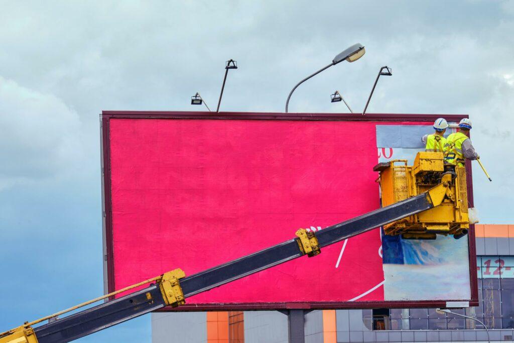 men changing print ad