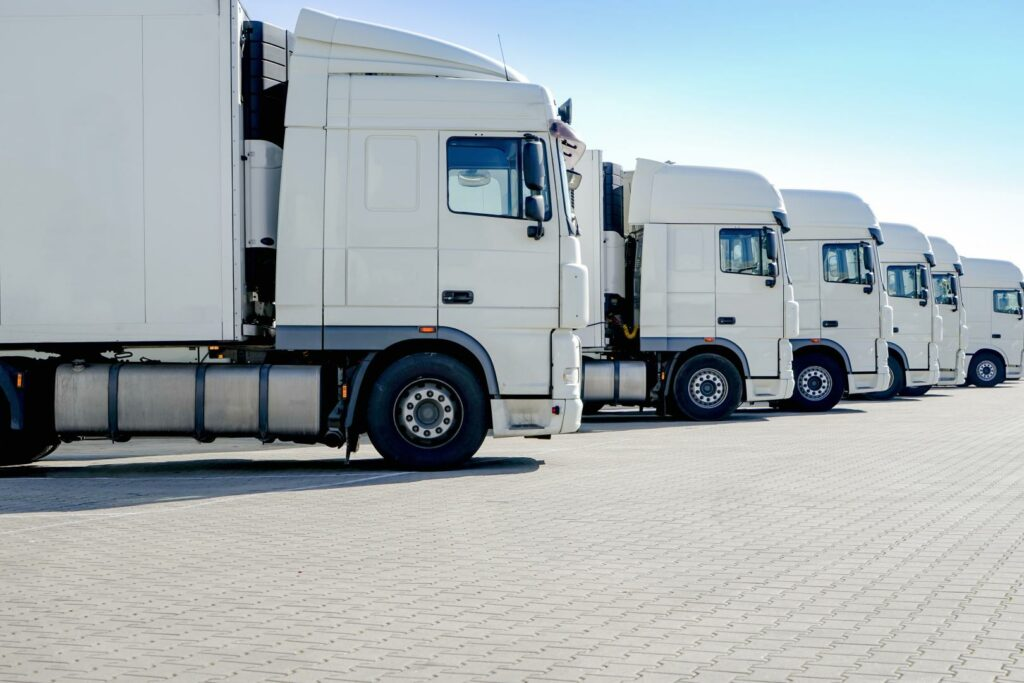 trucks standing in a row