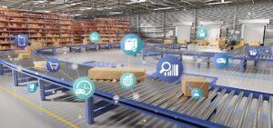 Ansicht einer logistischen Organisation auf einem Lagerhaus Hintergrund 3D Rendering