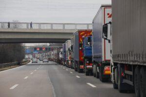 Lorry traffic jam, lorry on the motorway, Germany, Europe