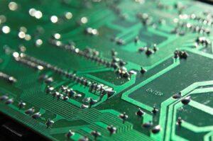 Nahaufnahme einer Leiterplatte (PCB)