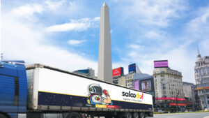 Truck with Saloodo! branding in front of the Obelisco in Buenos Aires, Argentina