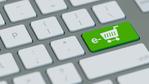 symbol picture of a keyboard with green ecommerce button
